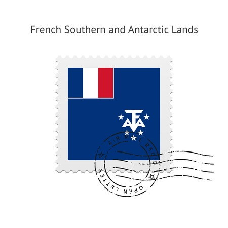 the antarctic: French Southern and Antarctic Lands Flag Postage Stamp on white illustration.