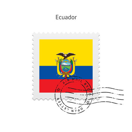 Ecuador Flag Postage Stamp on white illustration. Vector