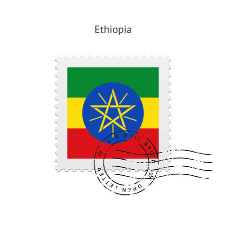 Ethiopia Flag Postage Stamp on white illustration. Vector