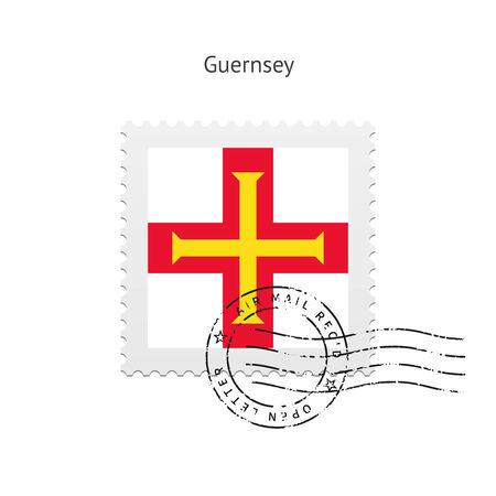 guernsey: Guernsey Flag Postage Stamp on white illustration.
