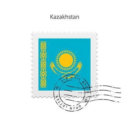 Kazakhstan Flag Postage Stamp on white illustration. Vector