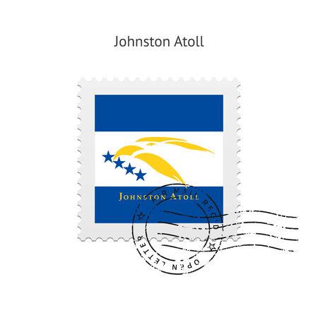Johnston Atoll Flag Postage Stamp on white illustration.