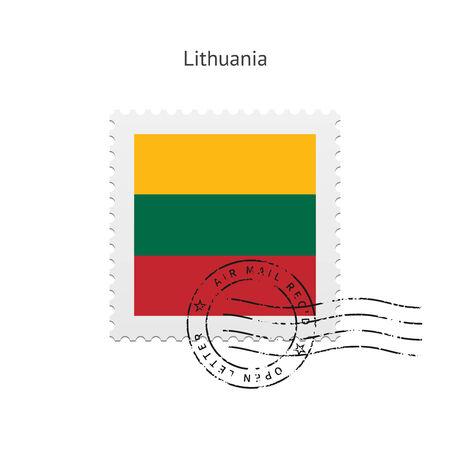 lithuania flag: Lithuania Flag Postage Stamp on white illustration.