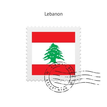 Vlag van Libanon postzegel op witte illustratie.