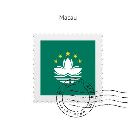 macau: Macau Flag Postage Stamp on white illustration.
