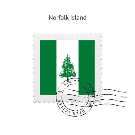 Norfolk Island Vlag postzegel op witte illustratie.