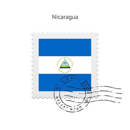 Vlag van Nicaragua postzegel op witte illustratie.