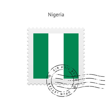 Nigeria Flag Postage Stamp on white illustration. Vector
