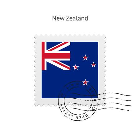 new zealand flag: Bandiera della Nuova Zelanda francobollo su bianco illustrazione.