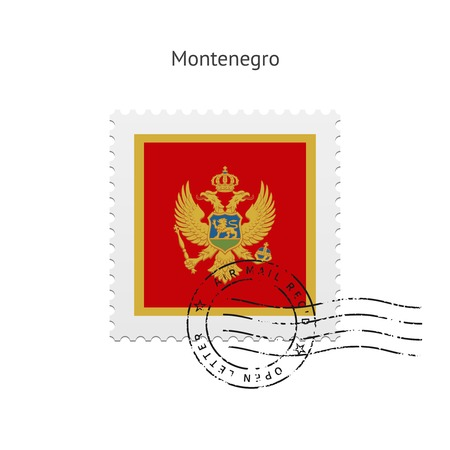Montenegro Flag Postage Stamp on white illustration. Illustration