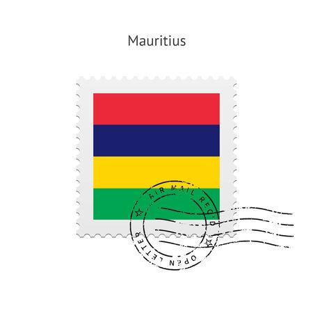 mauritius: Mauritius Flag Postage Stamp on white illustration.