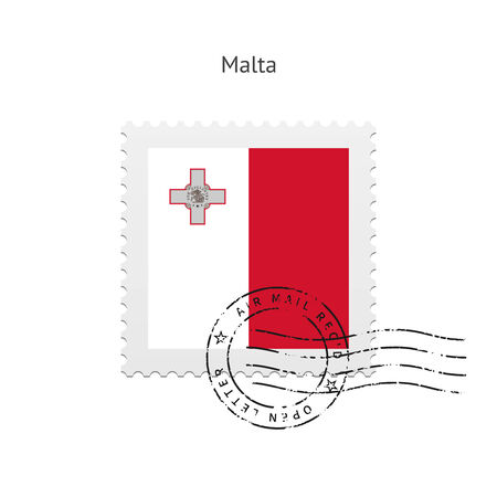 Malta Flag Postage Stamp on white illustration. Vector