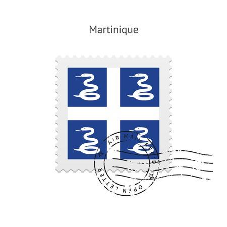 martinique: Martinique Flag Postage Stamp on white illustration. Illustration