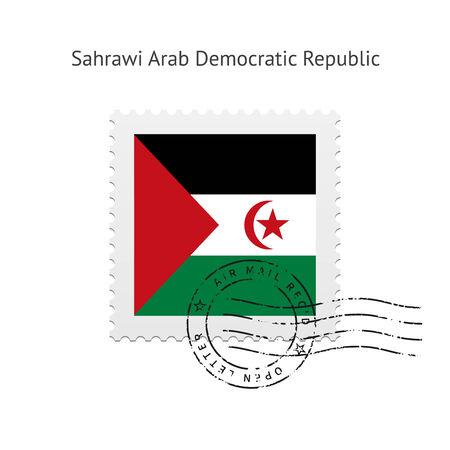 sahrawi arab democratic republic: Sahrawi Arab Democratic Republic Flag Postage Stamp on white illustration.