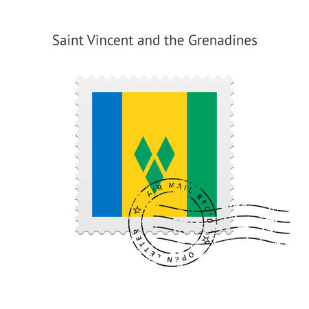 Saint Vincent and the Grenadines Flag Postage Stamp on white illustration. Vector