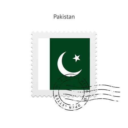pakistan flag: Pakistan Flag Postage Stamp on white illustration.