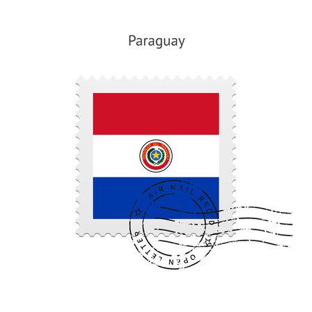 bandera de paraguay: Bandera de Paraguay Sello postal en la ilustraci�n blanca.