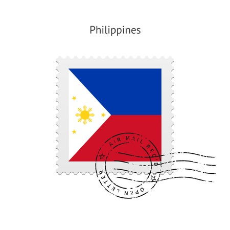 Philippines Flag Postage Stamp on white illustration.