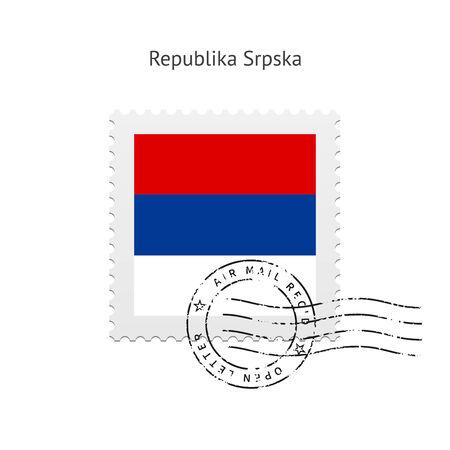 republika: Republika Srpska Flag Postage Stamp on Vector illustration. Illustration