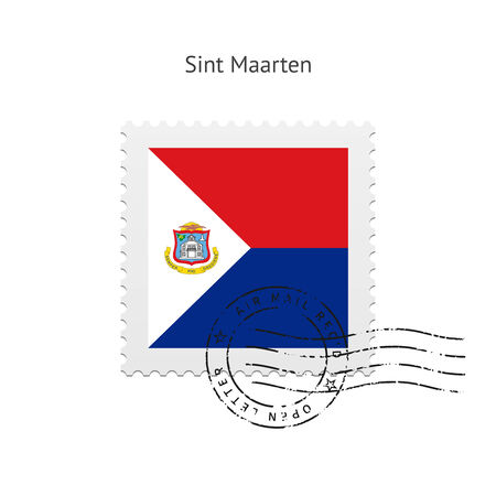 sint: Sint Maarten Flag Postage Stamp on white illustration.