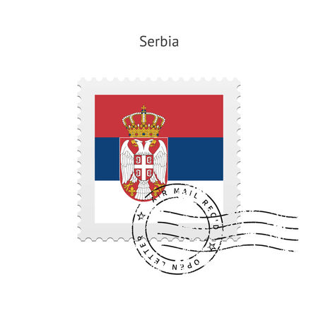 serbien: Serbien-Flaggen-Briefmarke auf wei�em Hintergrund.
