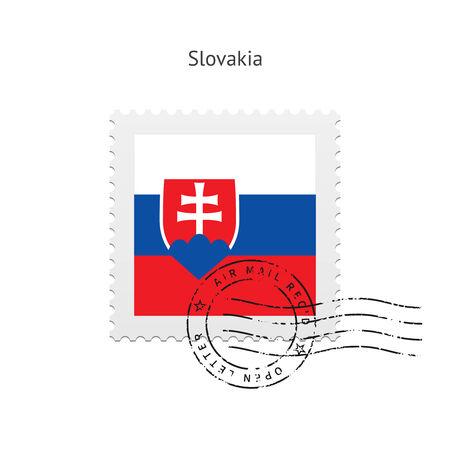 Slovakia Flag Postage Stamp on white illustration.
