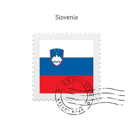 Slovenia Flag Postage Stamp on white illustration.
