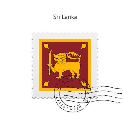 sri: Sri Lanka Flag Postage Stamp on white illustration. Illustration