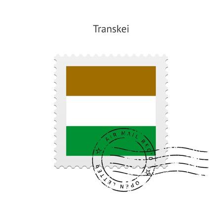 Transkei Flag Postage Stamp on white illustration. Иллюстрация