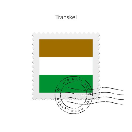 Transkei Vlag postzegel op witte illustratie.