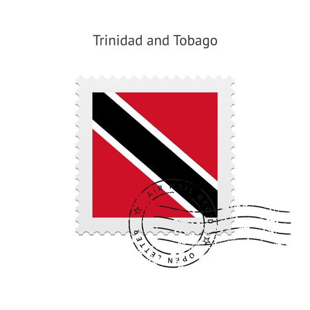 trinidad: Trinidad and Tobago Flag Postage Stamp on White illustration.