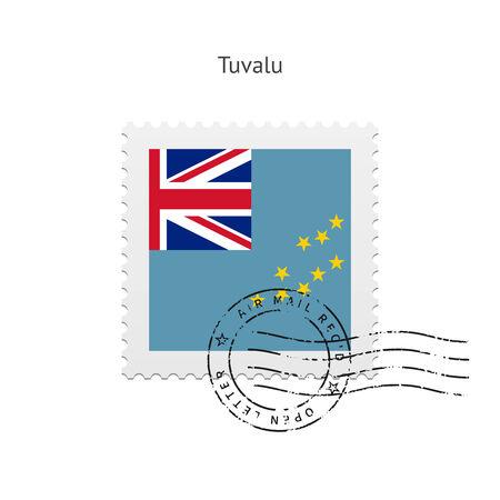 tuvalu: Tuvalu Flag Postage Stamp on white illustration.