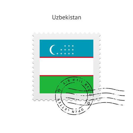 Vlag van Oezbekistan postzegel op witte illustratie. Stock Illustratie