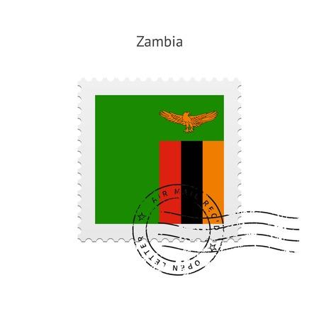 zambia: Zambia Flag Postage Stamp on white illustration.