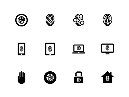 Fingerprint icons on white illustration.