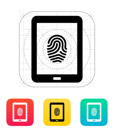 Tablet fingerprint icon illustration. Illustration