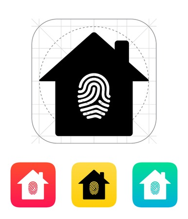 Fingerprint hone secure icon illustration. Vector