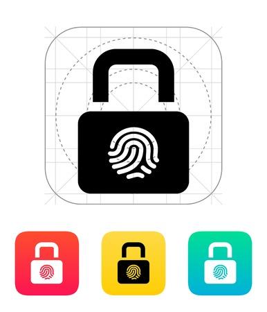 Fingerprint secure lock icon illustration. Vettoriali