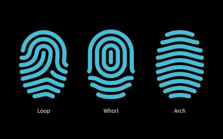 odcisk kciuka: Odcisk palca typy na czarnym tle. Ilustracji wektorowych. Ilustracja
