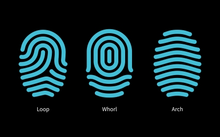 finger print: Thumbprint types on black background. Vector illustration.