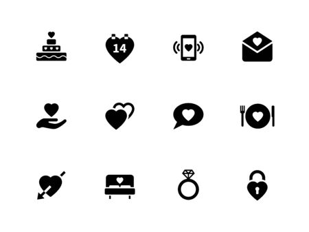 romance bed: Love icons on white background. Vector illustration.