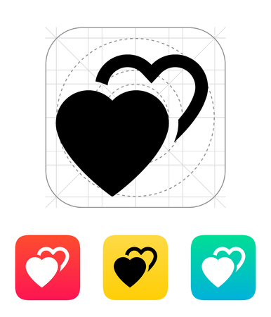 Two hearts icon. Vector illustration. Vector