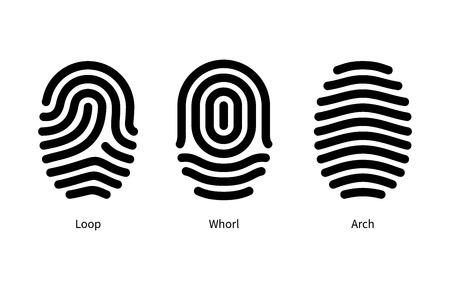Vingerafdruk types id op een witte achtergrond. Vector illustratie. Stock Illustratie