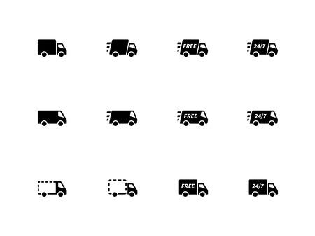 removal van: Delivery Trucks icons on white background. Vector illustration. Illustration