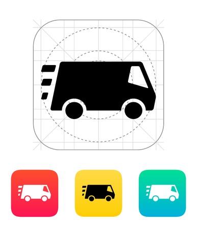 Schnelle Lieferung Minibus-Symbol. Vektor-Illustration.