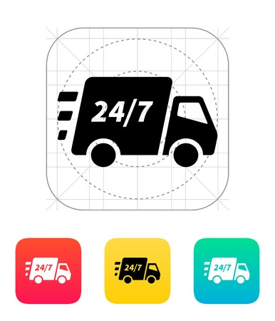 moving truck: Delivery support seven days a week icon. Vector illustration.