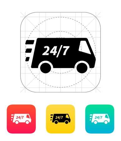 removal van: Delivery day and night support icon. Vector illustration. Illustration