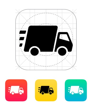 Snelle levering Vrachtwagen icoon. Vector illustratie.