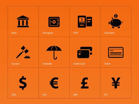 Banking icons on orange background. Vector illustration. Vector