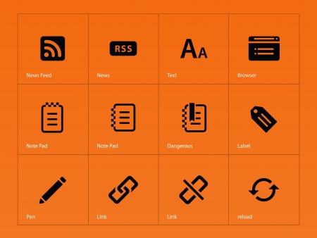 broken link: Blogger icons on orange background. Vector illustration.